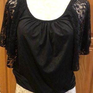 HeartSoul Tops - Black Blouse with silky feel & Lace Sleeves